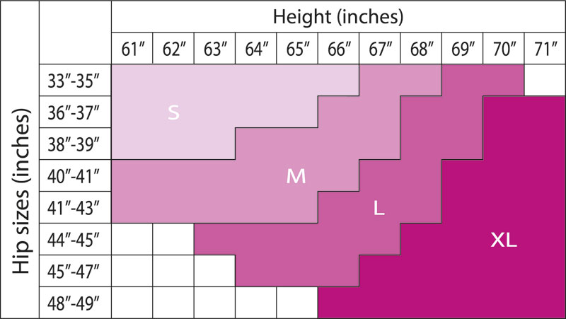 Size Chart for Cache Coeur Summer Maternity Tights (Extra Sheer) with Open Toe