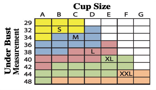 Size Chart for Majamas Organic Padded Addy Bra