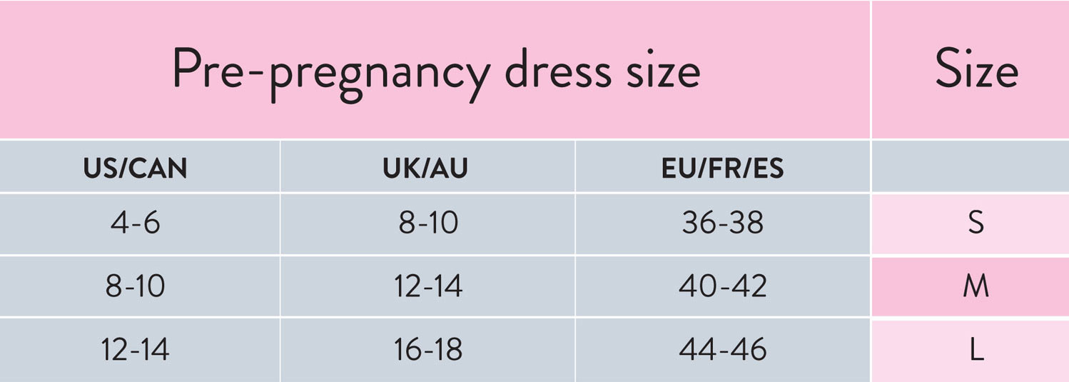 Size Chart for Bravado Designs Belly and Back Multi-Zone Pregnancy Support Band