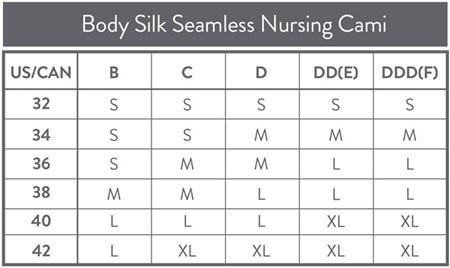 Size Chart for Bravado Designs Body Silk Seamless Nursing Cami