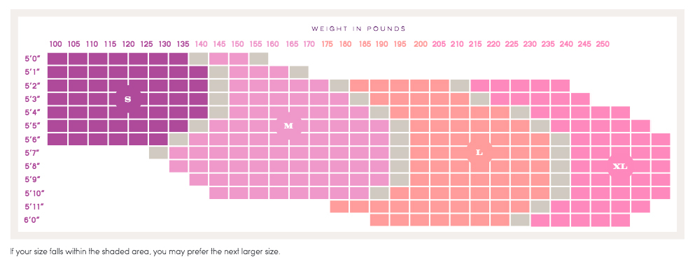 Size Chart for Ingrid & Isabel Sheer Maternity Pantyhose