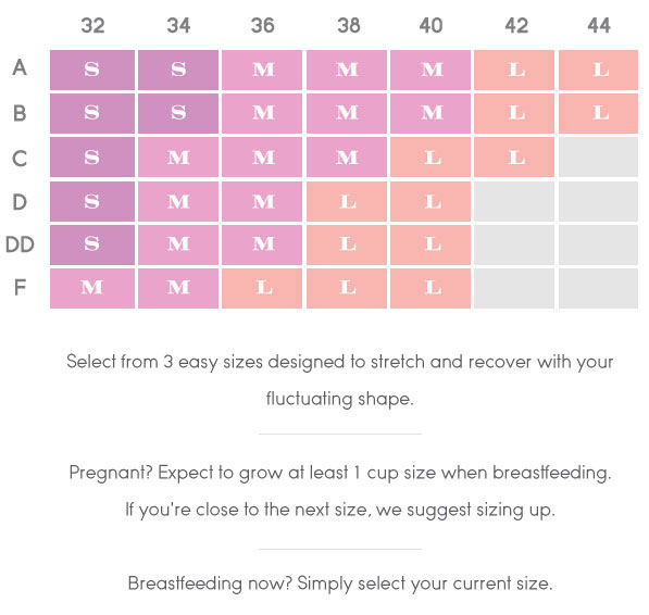 Size Chart for Ingrid & Isabel Seamless Drop Cup Nursing Cami