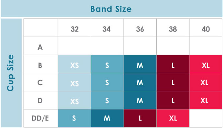 Size Chart for Rumina Hands-Free Pump&Nurse™ Essential Relaxed Bra