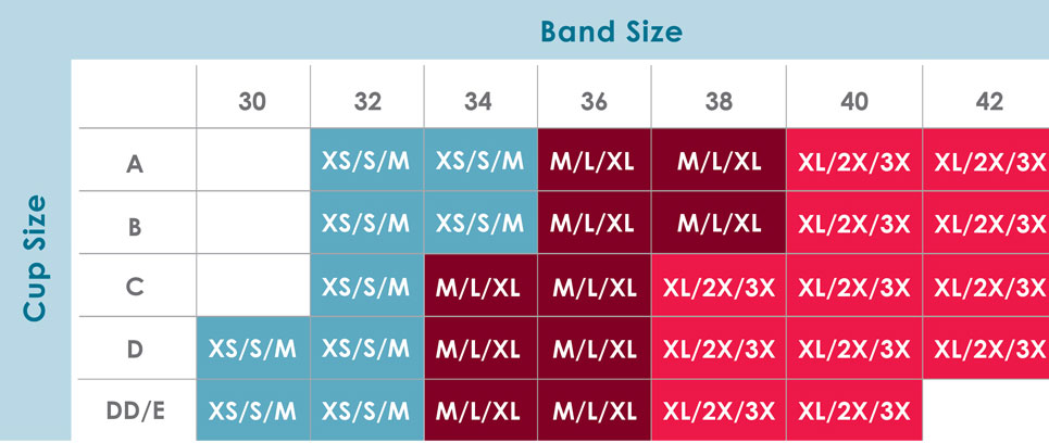 Size Chart for Rumina Hands-Free Pump&Nurse™ Strapless Bra