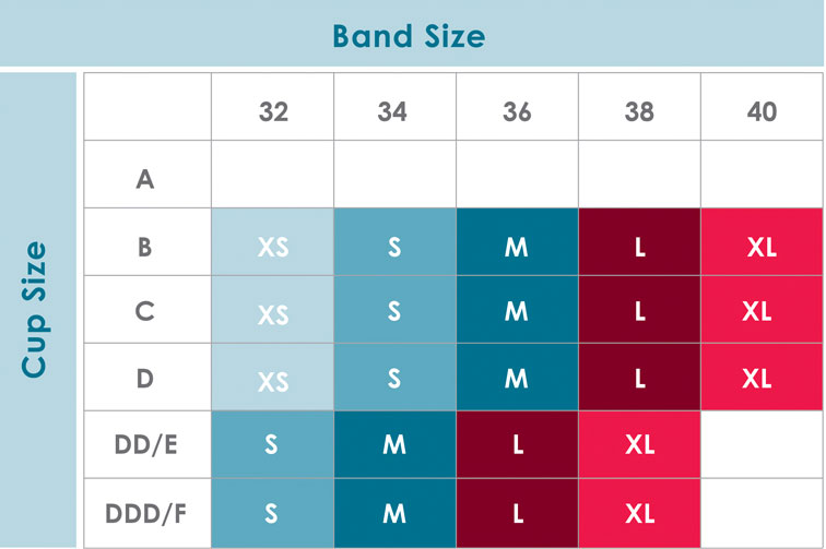 Size Chart for Rumina Hands-Free Pump&Nurse™ Essential Nursing Tank