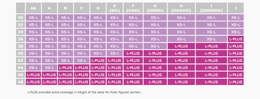 Size Chart for Simple Wishes Signature Hands Free Pumping Bra