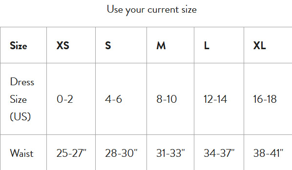 Size Chart for C-Section Recovery Briefs by Belly Bandit®