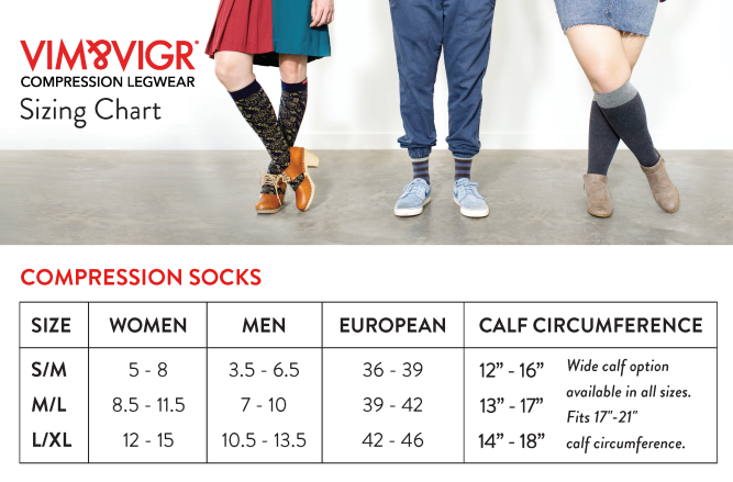 Size Chart for Vim & Vigr 15-20 mmHg Compression Socks - Nylon