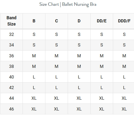 Size Chart for Bravado Designs Ballet Nursing Bra