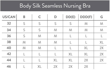 Size Chart for Bravado Designs Body Silk Seamless Nursing Bra