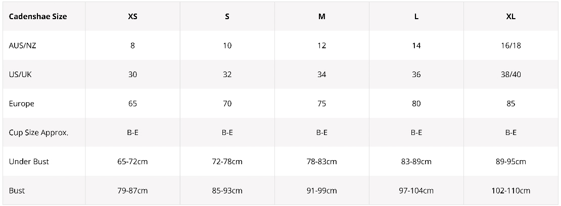 Size Chart for Cadenshae Fit2feed Nursing Sports Bra