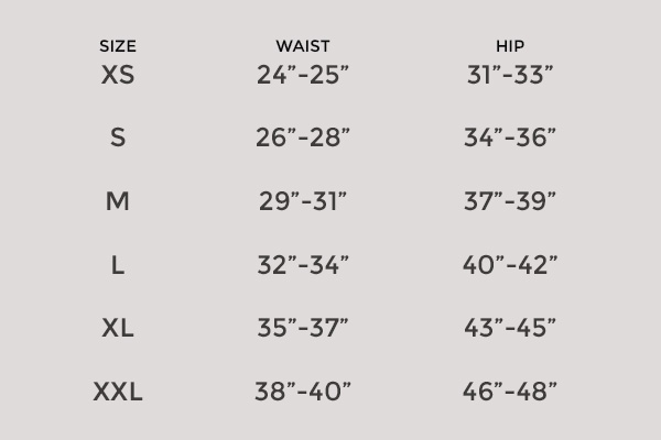Size Chart for Girlfriend Collective Compressive High-Rise Legging (28.5