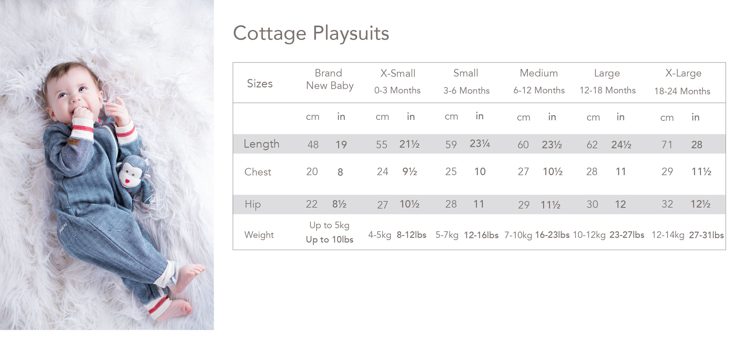 Size Chart for Juddlies Designs Cottage Collection Organic Playsuit