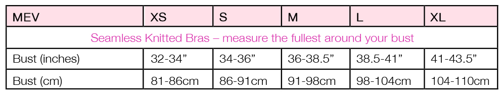 Size Chart for Seamless Demi-Cup Maternity & Nursing Bralette Bra by Mothers en Vogue