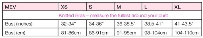 Size Chart for Cross-Front Cotton Sleep Bra by Mothers en Vogue