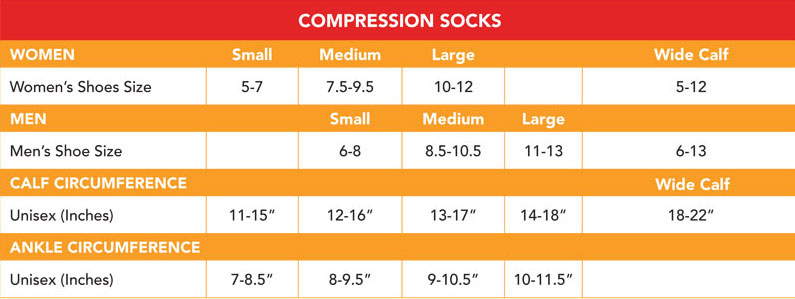 Size Chart for Vim & Vigr 15-20 mmHg Women's Stylish Compression Socks - Nylon