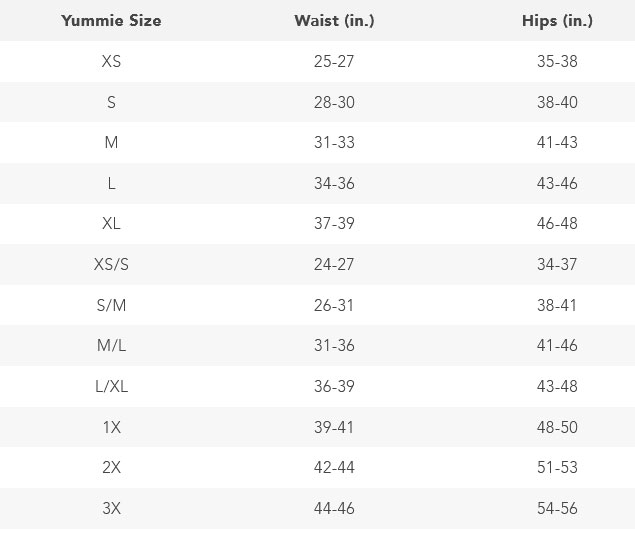Size Chart for Yummie Cotton Seamless Shaping Short