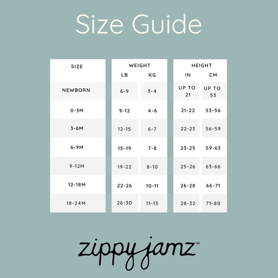 Size Chart for ZippyJamz Organic Baby Footed Sleeper Pajamas w. Inseam Zipper for Easy Changing