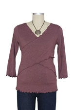 JW Flutter Cross Front Nursing Top (3/4 sleeve) (Burgundy) by Japanese Weekend