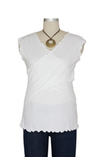 JW Flutter Cross Front Nursing Top (sleeveless) (White) by Japanese Weekend