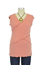 JW Flutter Cross Front Nursing Top (sleeveless) (Salmon) by Japanese Weekend