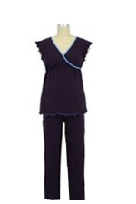 Wrap Nursing Top w/Crop Pants (Eggplant) by Japanese Weekend