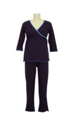 JW 3/4 Sleeve Wrap Nursing PJ Set (Eggplant) by Japanese Weekend