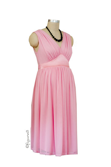 the baby shower stretch tulle maternity dress in blush by maternal