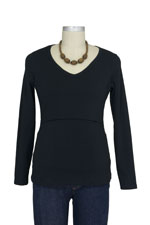 Momzelle Long Sleeve V-Neck Nursing Top (Black) by Momzelle