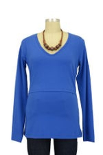Momzelle Long Sleeve V-Neck Nursing Top (Electric Blue) by Momzelle