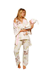 Anna 5-Piece Nursing PJ Set with Baby Outfit (Pink Floral Asian Print) by Olian