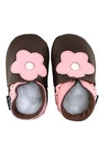 Bobux Original Pink Flower Baby Shoes (Chocolate/Pink) by Bobux