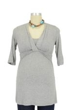 JW D&A Draped Neck Nursing Top (Heather Grey) by Japanese Weekend