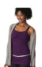Glamourmom Nursing Bra Full Bust Long Top (Grape Galore) by Glamourmom