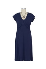 JW D&A Bamboo Twist Front Nursing Dress (Navy) by Japanese Weekend