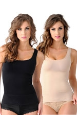 Mother Tucker™ Compression Scoop Neck Tank-2 Pack (Black & Nude) by Belly Bandit
