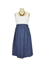 Maternal America Empire Seersucker Maternity Dress (White with Denim) by Maternal America