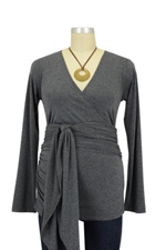 The Bella Wrap Around Maternity Top (Charcoal) by Lilac Maternity & More