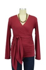 The Bella Wrap Around Maternity Top (Burgundy) by Lilac Maternity & More