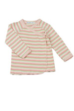 Organic Long Sleeve Side Snap Baby T-shirt (Pink Stripes) by Under the Nile