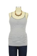 Ripe Ultimate Express Nursing Tank (Silver & White Stripes) by Ripe Maternity