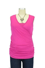 Izzy Wrap Ruched Sleeveless Nursing Top (Raspberry) by Maternal America