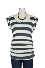 D&A Striped Side Ruched Nursing Top w/Tie Back (Grey Stripes) by Japanese Weekend
