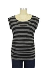 D&A Striped Side Ruched Nursing Top w/Tie Back (Black & Charcoal Stripes) by Japanese Weekend