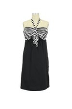 Grace Halter Maternity Dress (Black & White Stripes) by Olian