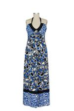 Eclipse Maxi Maternity Dress (Blue Leaf Combo Print) by Olian