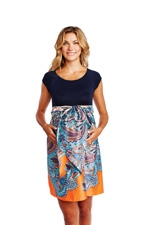 MA Scoop Neck Front Tie Maternity Dress (Navy Paisley Print) by Maternal America