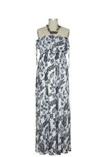 Elle Maxi Maternity Dress (Black/White Floral) by NOM
