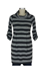 Zara 3/4 Sleeve Knit Maternity Tunic Sweater (Charcoal and Black stripe) by Jules & Jim