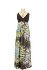 Elsie Floral Maxi Maternity Dress (Brown Mix Print) by Jules & Jim